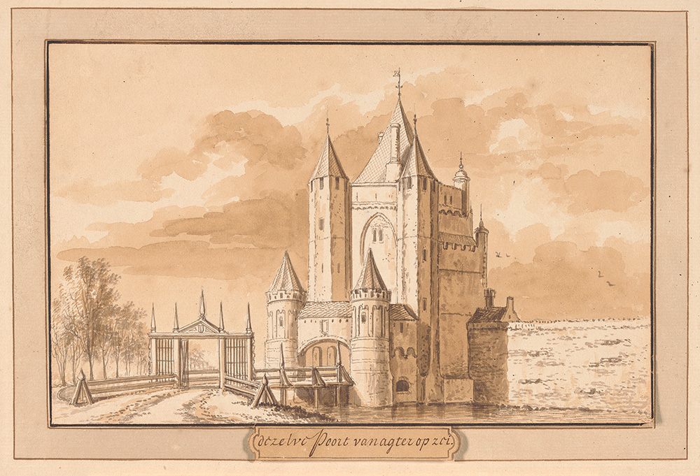 A drawing of a medieval city gate in Haarlem, the Netherlands